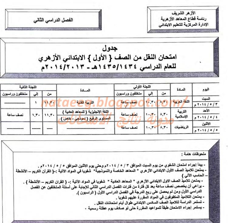 جدول امتحانات الشهاده الابتدائيه الازهريه 2014 الفصل الدراسى الثانى بالصور