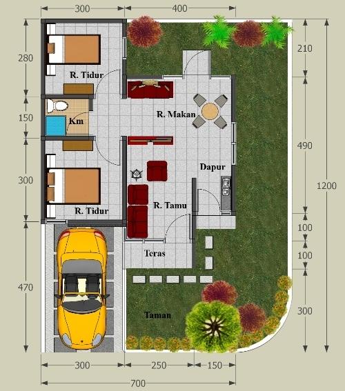 Contoh Gambar Desain Rumah Minimalis Type 45