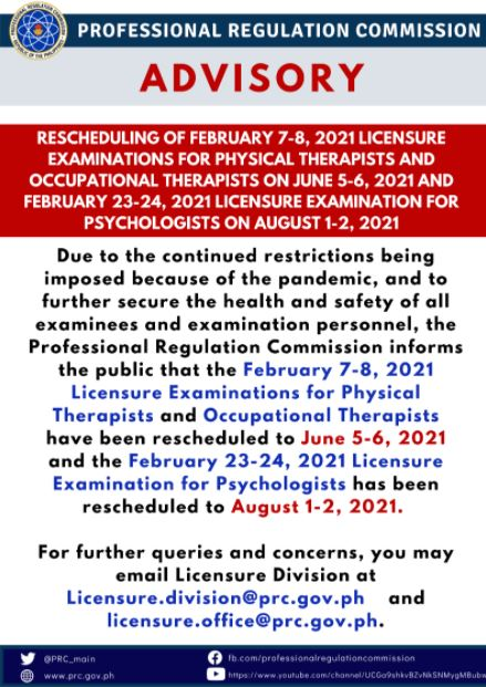 PRC reschedules 2021 PT-OT, Psychologist board exams