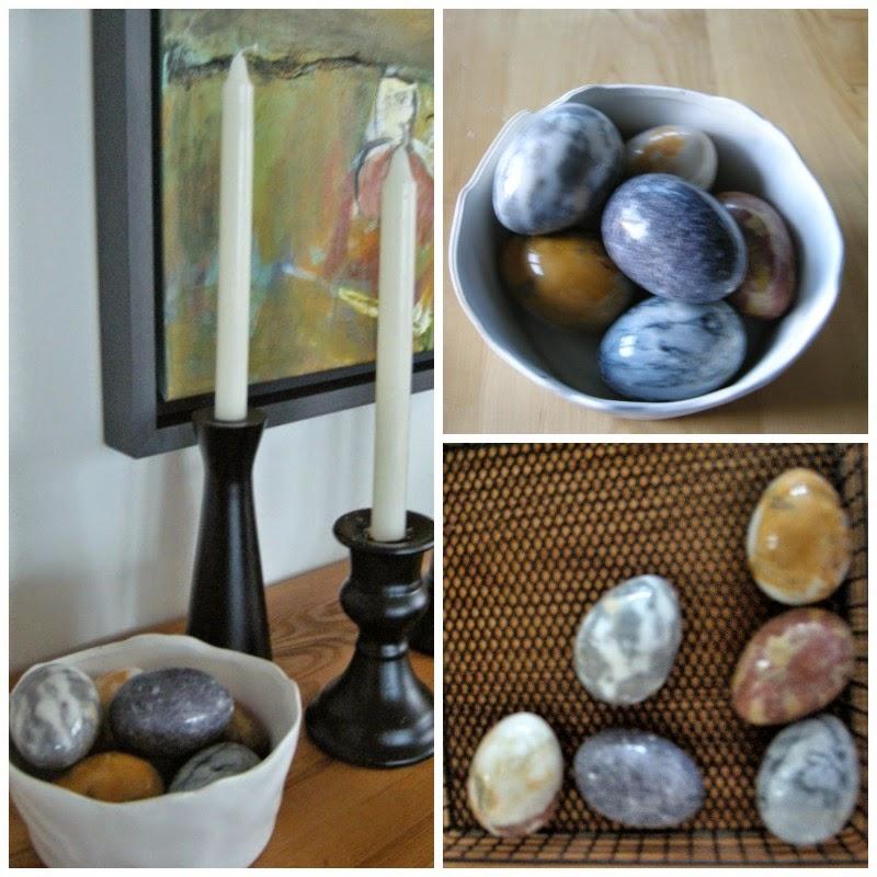 stone eggs, accessories, black candle holders, vignette
