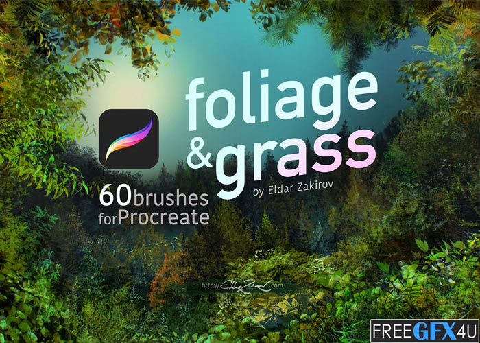 60 Foliage & Grass Procreate Brushes