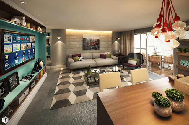 Um sonho decorado: sala e cozinha integradas. Blog Achados de Decoração