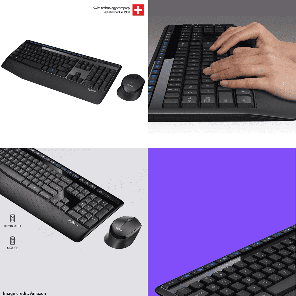 The image of a Logitech MK345 wireless keyboard and mouse combo. Its color is black. Moreover, It has a warranty of 1 year. The keyboard has total 103 keys and the mouse has 3 buttons.