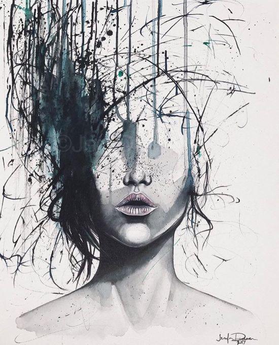Jen Duran instagram arte pinturas aquarelas surreais mulheres