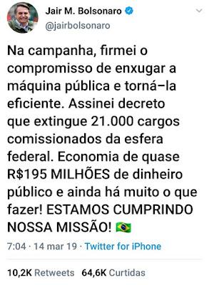 Foto:Twitter oficial do presidente Jair bolsonaro