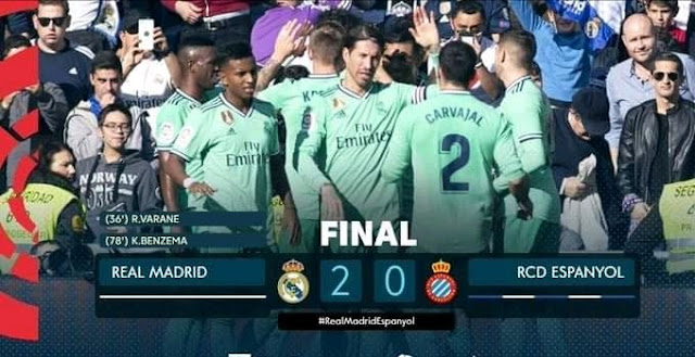 Three points for Madrid after seeing off Espanyol in a 2-0 win with goals from Rafael Varane and striker Karim Benzema to move them top of the Laliga league table.
