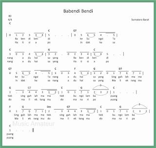 not angka lagu babendi bendi lagu daerah sumatera barat