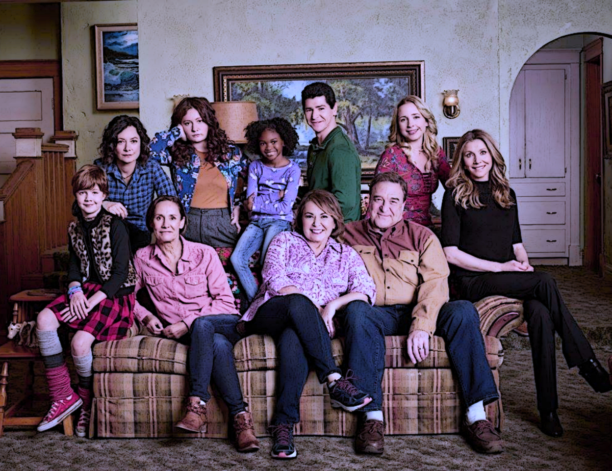 ABC's Roseanne show, cast sitting on couch