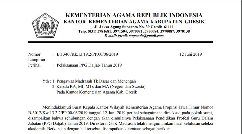 Konfirmasi Ketersediaan Mengikuti PPG 2019