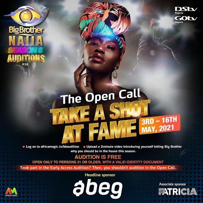 BBNaija Season 6: Open Auditions Start May 3