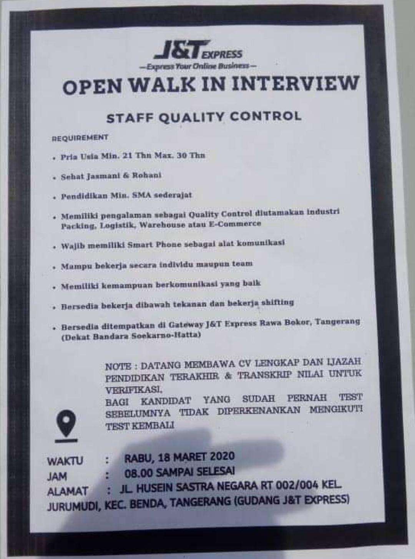 Lowongan Kerja J T Express Tangerang Tingkat Sma Smk Update 2020 2021