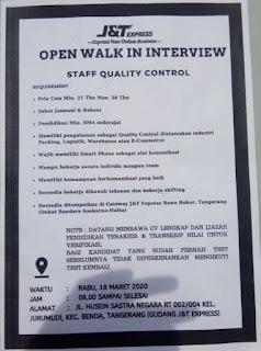 Lowongan Kerja J&T Express Tangerang Terbaru 2020