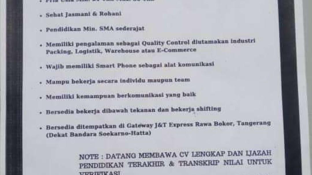 Lowongan Kerja J T Express Tangerang Tingkat Sma Smk Update 2020 Agustus 2021