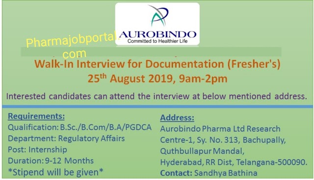 Aurobindo Pharmaceutical walk in interview for Regulatory affairs on 25th August 2019