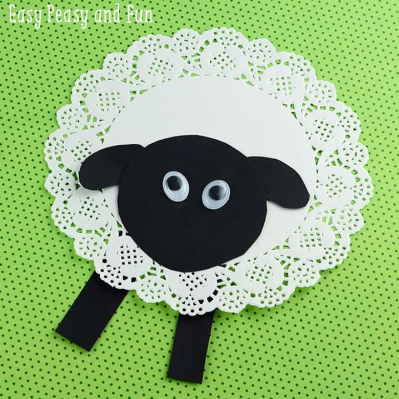 Easter crafts for toddlers - paper doily sheep craft