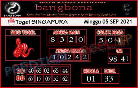 Prediksi Bangbona Togel Singapura Minggu 05 September 2021