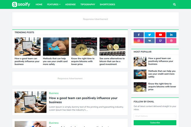 Template Seoify - Modelo de blogger responsivo