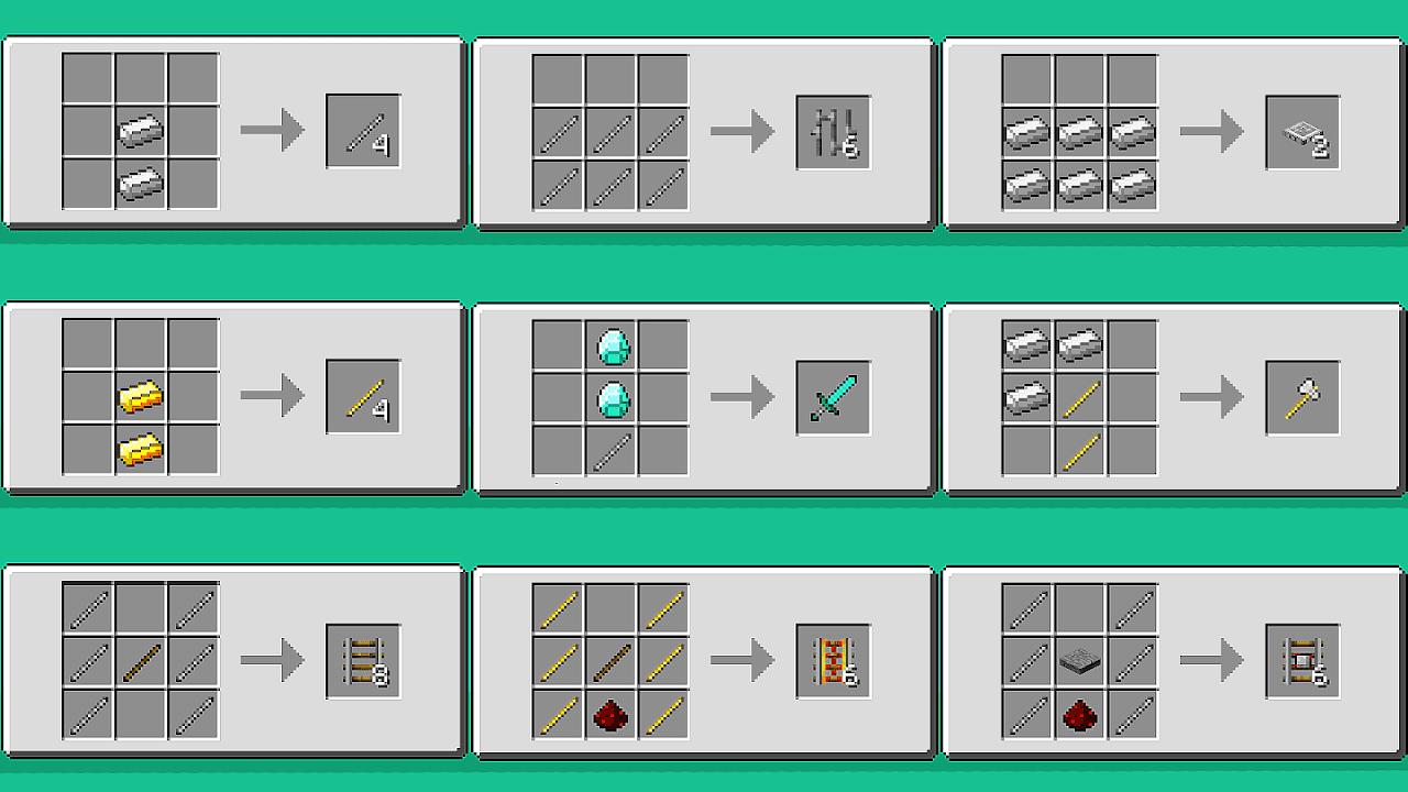 Vanilla Minecraft Crafting Recipes - Recipe Choices