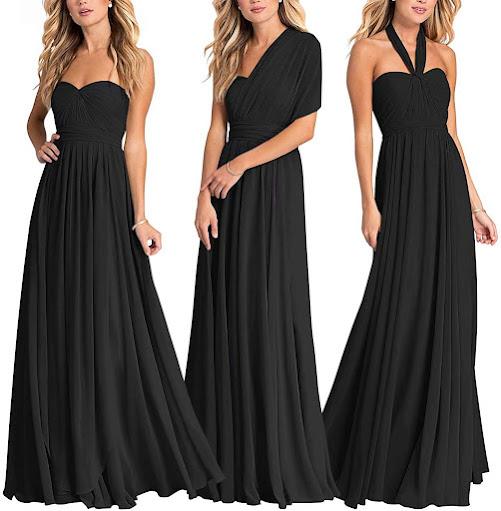 Elegant Fashionable Black Chiffon Bridesmaid Dresses