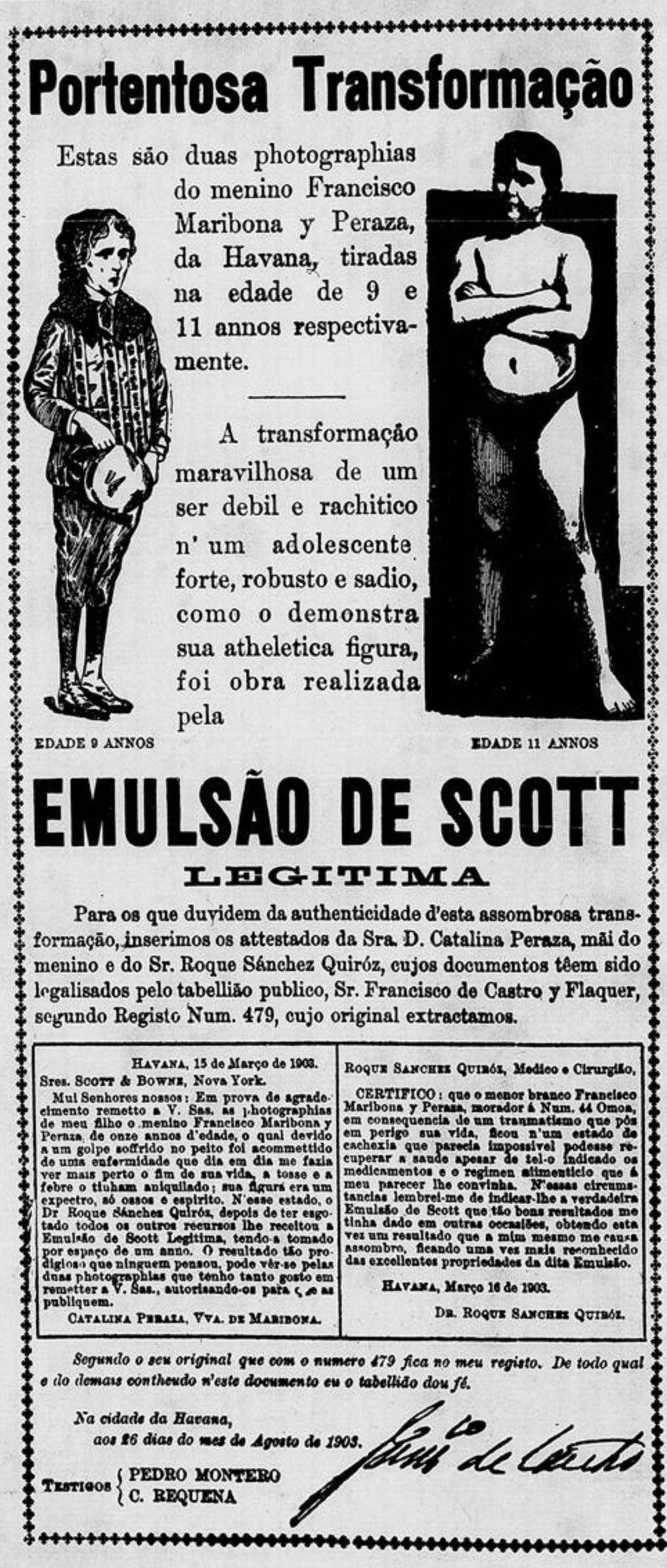 Anúncio antigo do Emulsão de Scott com testemunho de restabelecimento da saúde de crianças