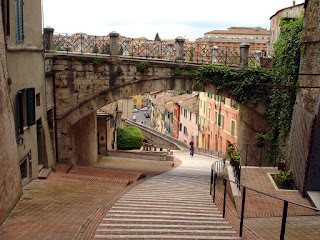 The old Roman aqueduct in Perugia is now a street