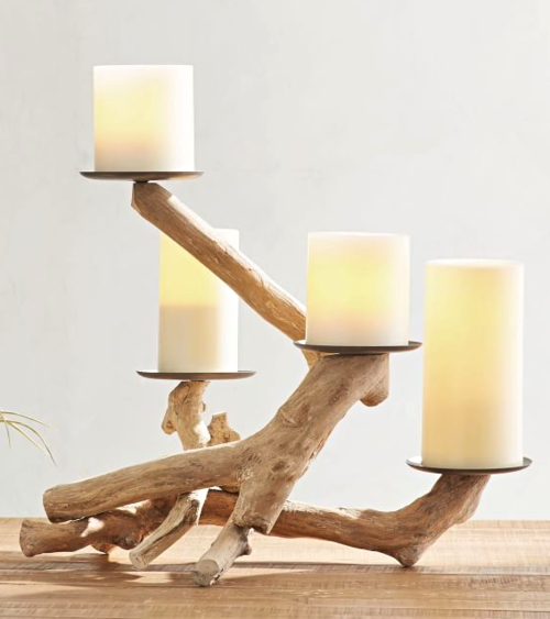 Driftwood Pillar Candle Holder