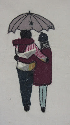 couple walking free motion embroidery or raw edge applique