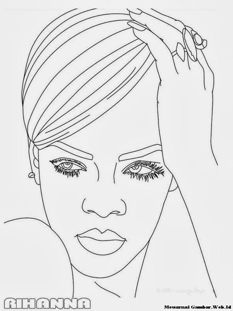 Mewarnai Gambar Rihanna