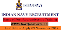 Indian Navy Recruitment 2017– 105 Apprenticeship Training
