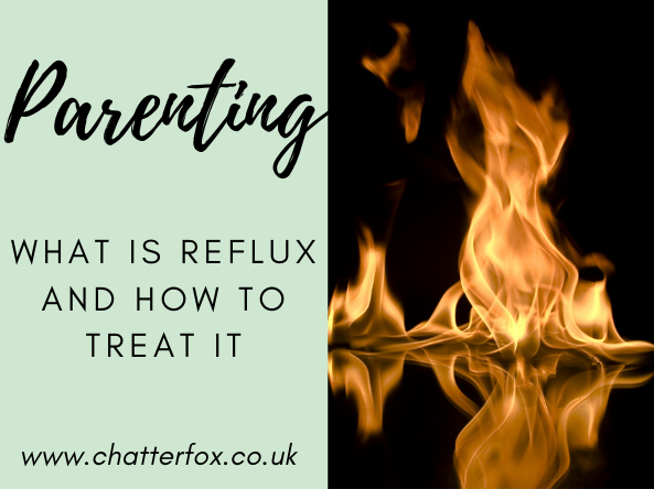 Image of a fire burning on a black background. Alongside this image is a title that reads; Parenting, What is reflux and how to treat it. www.chatterfox.co.uk