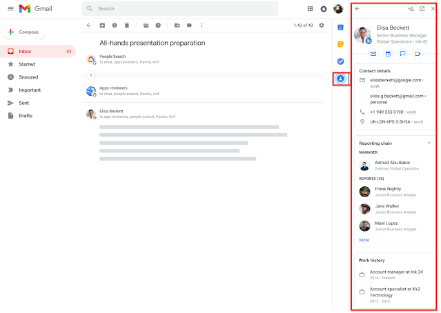 View richer information about coworkers directly within the Gmail side panel