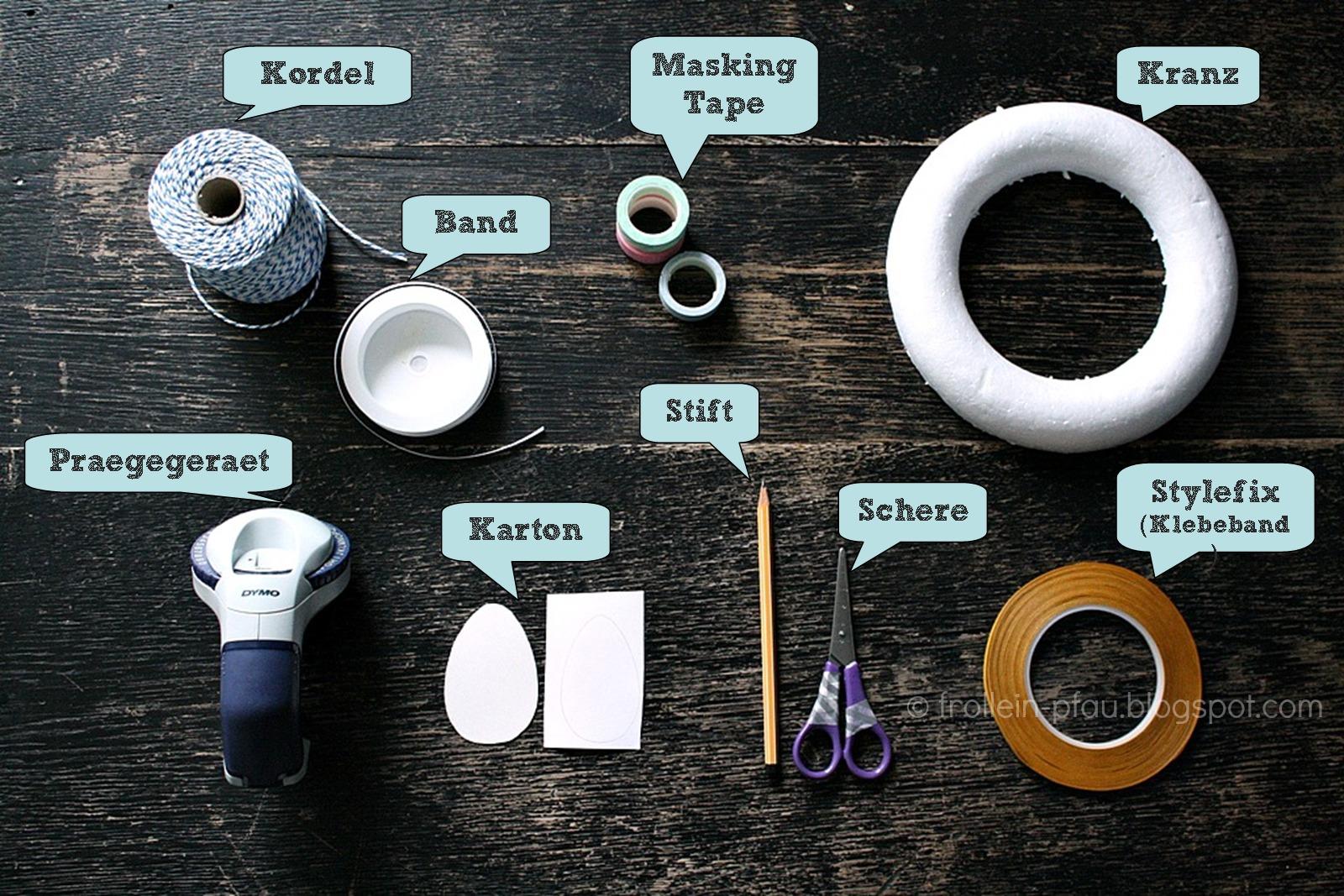 DIY, Masking Tape, Ostern, Osterdeko, Osterkranz, Kranz, Türkrank, Osteridee, Osterkranz selbst basteln, Bastelidee, Styropor, Frollein Pfau