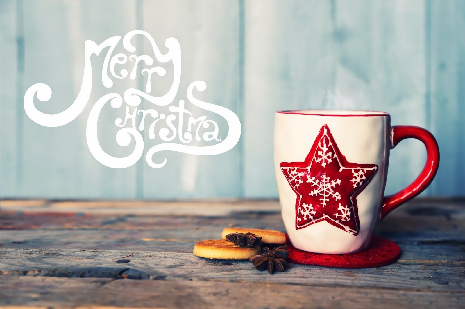 Fancy Cappuccino Cups Banner Card Of Merry Christmas Greeting Sign With Fancy Text