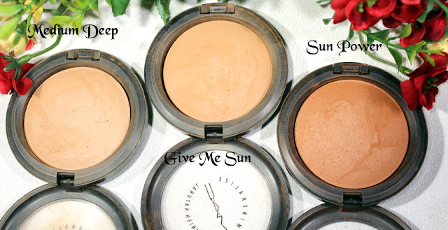 MAC Medium Deep MSF, Give Me Sun MSF, Sun Power MSF Review, Swatches