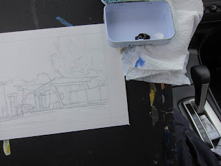 A photo of the setup that I use to paint inside of my car