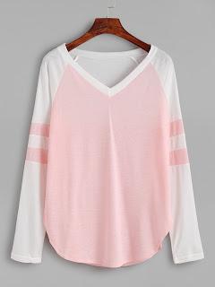 http://es.shein.com/Pink-Contrast-Raglan-Sleeve-V-Neck-T-shirt-p-326549-cat-1738.html