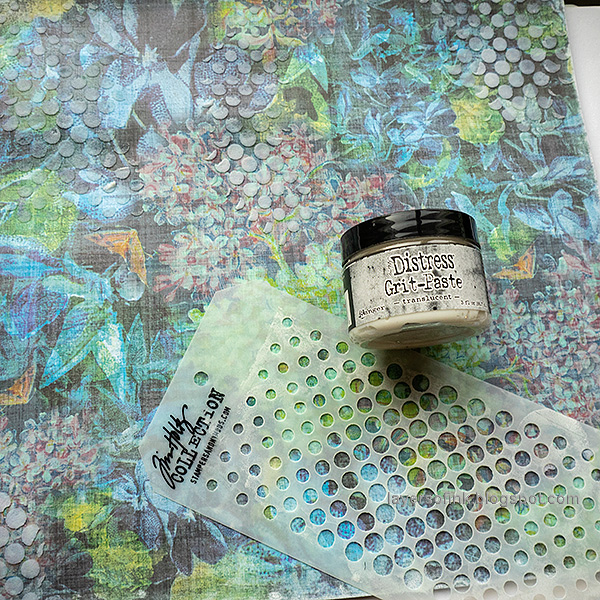 Layers of ink - Spring has sprung scrapbooking layout by Anna-Karin Evaldsson. Apply Translucent Grit-Paste through stencil.
