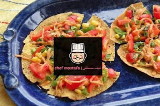Tortilla pizza with corn and vegetables