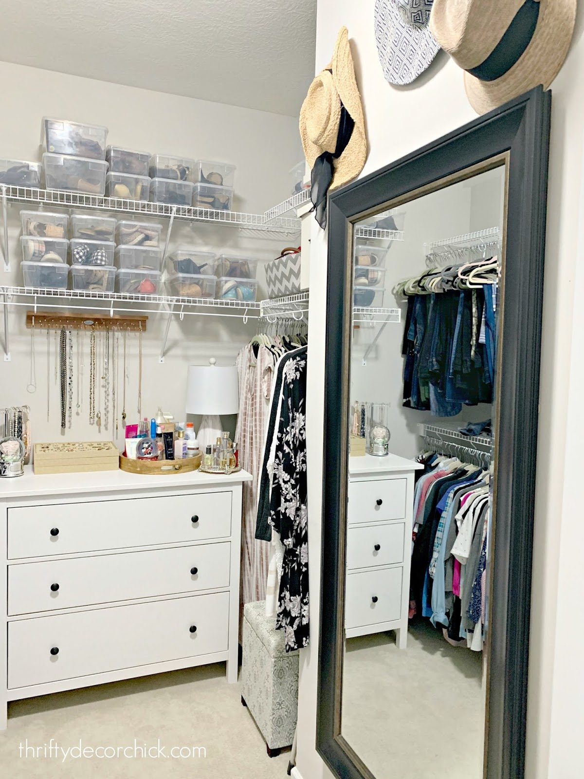 Master closet with full mirror