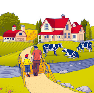 illustration, ferme, Lactantia, Catalpa, Design, graphique, emballage, lait, canada