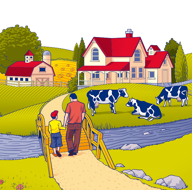 Ferme Lactantia, Lactantia Farm scene, lait, milk, illustration, papa, enfant, nature,