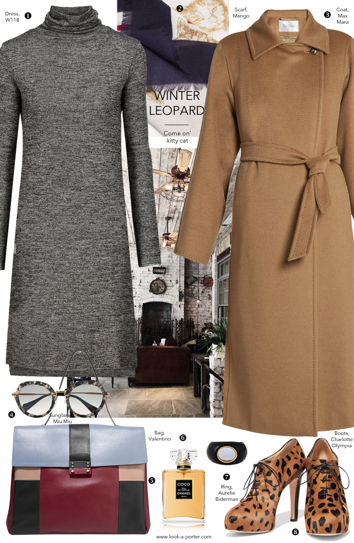 Styling a camel coat, grey dress, animal prints and geometric accessories for a smart casual winter outfit for www.look-a-porter.com fashion blog