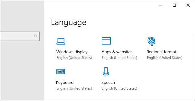 أيقونات خيار لغة جديدة في تطبيق إعدادات Windows 10.