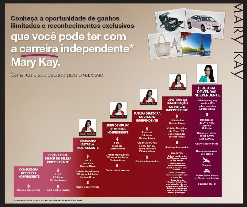 e070044d6 A imagem abaixo ilustra resumidamente os 7 primeiros níveis da Carreira  Mary Kay; de
