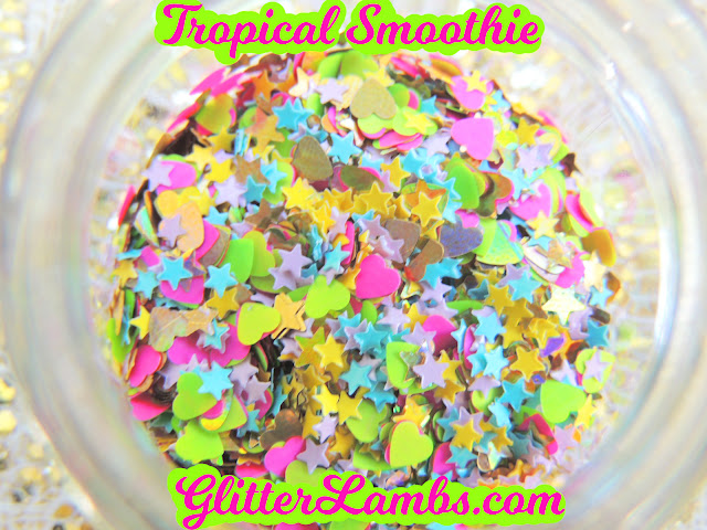 Tropical Smoothie-gold holographic hearts, gold holographic stars, neon green hearts, neon hot pink hearts, mini bubblegum pink stars, mini baby blue stars and mini yellow stars
