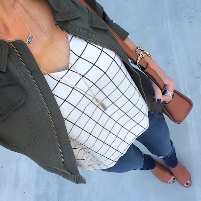Express Military Jacket, Barcelona Cami, Jeans, Cognac Peep Toe Booties