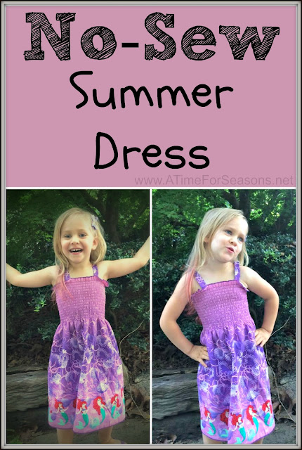 Easy No Sew Summer Dress DIY www.ATimeForSeasons.net