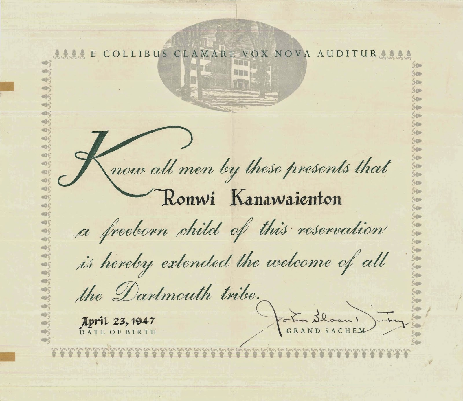 The declaration of welcome to Ronwi Kanawaienton.