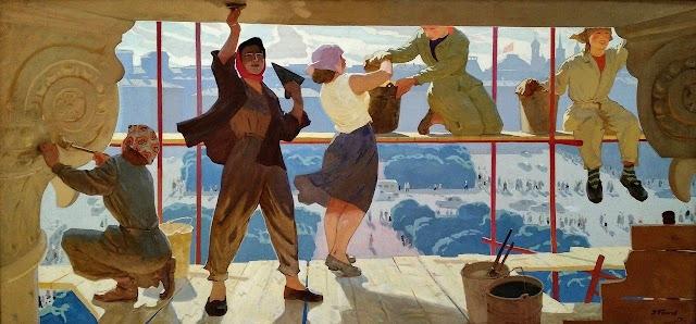 «Большой театр в строительных лесах», Попков Виктор Ефимович, 1959 г.