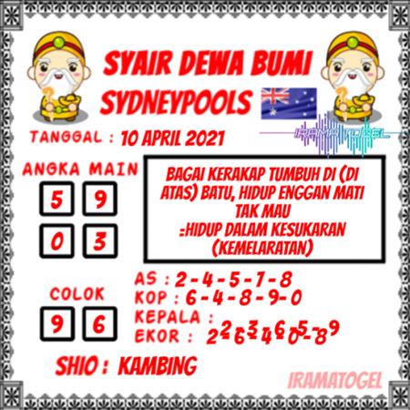 Syair Dewa Bumi Sidney Sabtu 10 April 2021